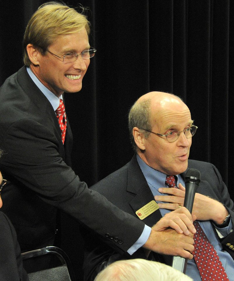 Photo -  Bill Hancock, right, with Bart Conner at OU's Gaylord College Anniversary. PHOTO PROVIDED