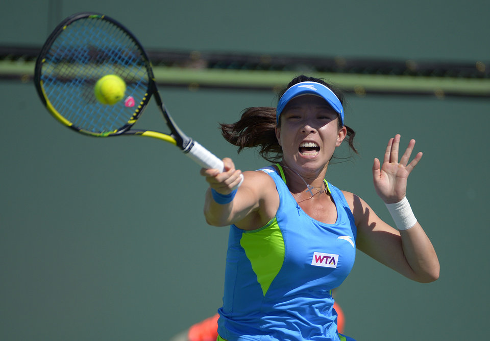Photo - Zheng Jie, of China, returns a shot against Paula Ormaechea, of Argentina, during a first round match at the BNP Paribas Open tennis tournament, Thursday, March 6, 2014, in Indian Wells, Calif. (AP Photo/Mark J. Terrill)