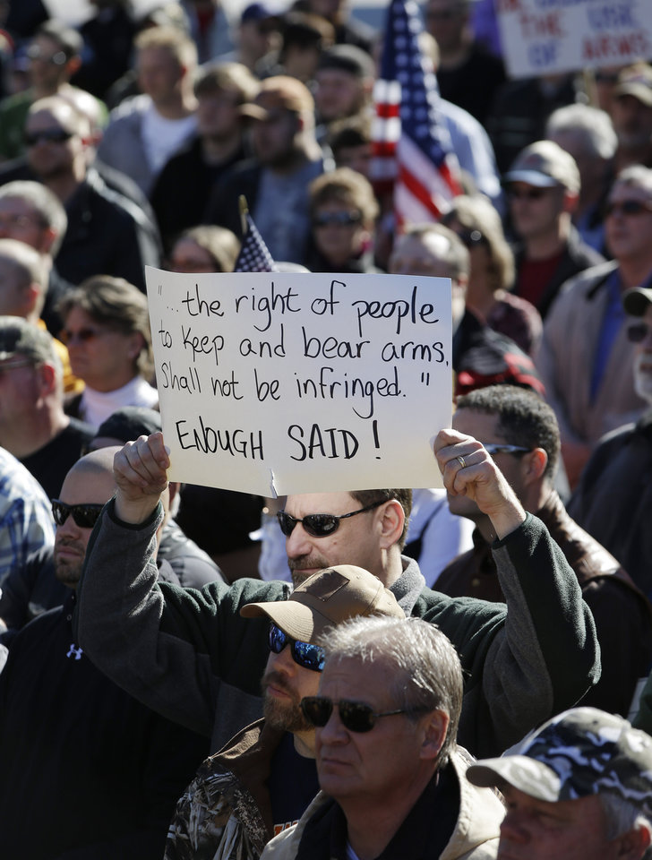 Photo - Gun rights advocates demonstrate on Saturday, Jan. 19, 2013, in Nashville, Tenn. Supporters of gun rights held