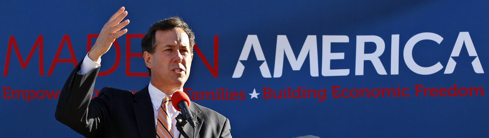 Photo - Republican presidential candidate, former Pennsylvania Sen. Rick Santorum, speaks at rally in Oklahoma City, Sunday, March 4, 2012. (AP Photo/Sue Ogrocki) ORG XMIT: OKSO110