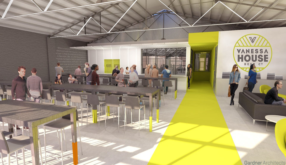 Photo -  The development of a decades-old warehouse at 118 NW 8 is being designed by Gardner Architects. The tap room is shown with the brewery in the background in this rendering. [Rendering provided]