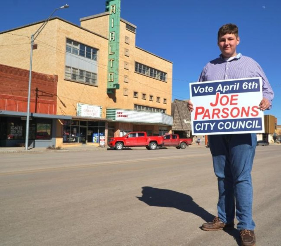 Photo -  Joe Parsons, 18, a high school student, is running for a seat on the Alva City Council. [Jordan Green for The Oklahoman]