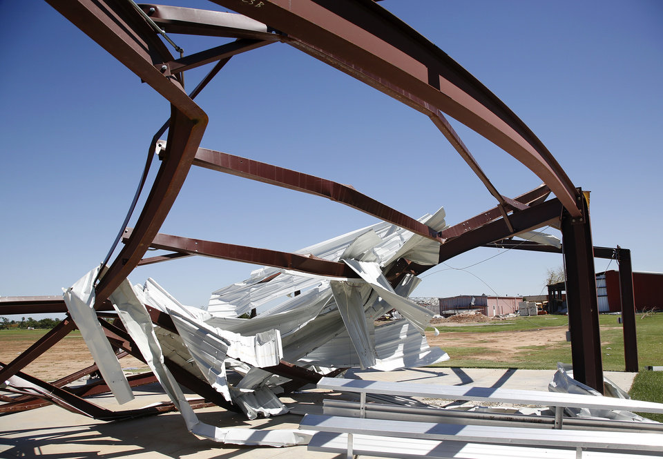 This building on the back side of the Canadian Valley Technology Center was destroyed in Friday night's tornado. Photo  by Jim Beckel, The Oklahoman.