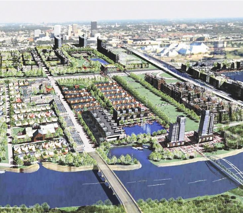 Photo - This rendering offers an idea of what city leaders anticipate the area between downtown and the Oklahoma River will look like once it is redeveloped during the next three decades as part of the Core to Shore process.PROVIDED BY THE CITY OF OKLAHOMA CITY