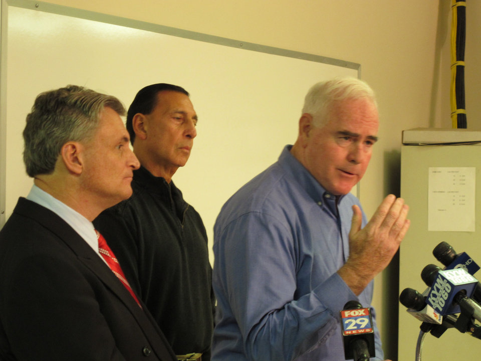U.S. Rep. Pat Meehan R-Pa., speaks along with Reps. Rob Andrews, D-N.J., and Frank LoBiondo, R-N.J., at a news conference in Clarksboro, N.J. on Thursday, Dec. 6, 2012. The representatives say there should be a deeper look at the causes and aftermath of the Nov. 30 train derailment in Paulsboro, N.J. (AP Photo/Geoff Mulvihill)
