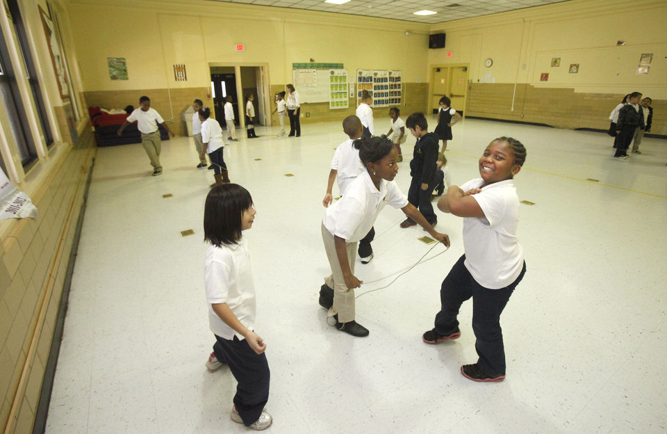 School children jump rope in the old gym at Horace Mann Elementary School in Oklahoma City, OK, Thursday, January 31, 2013,  By Paul Hellstern, The Oklahoman