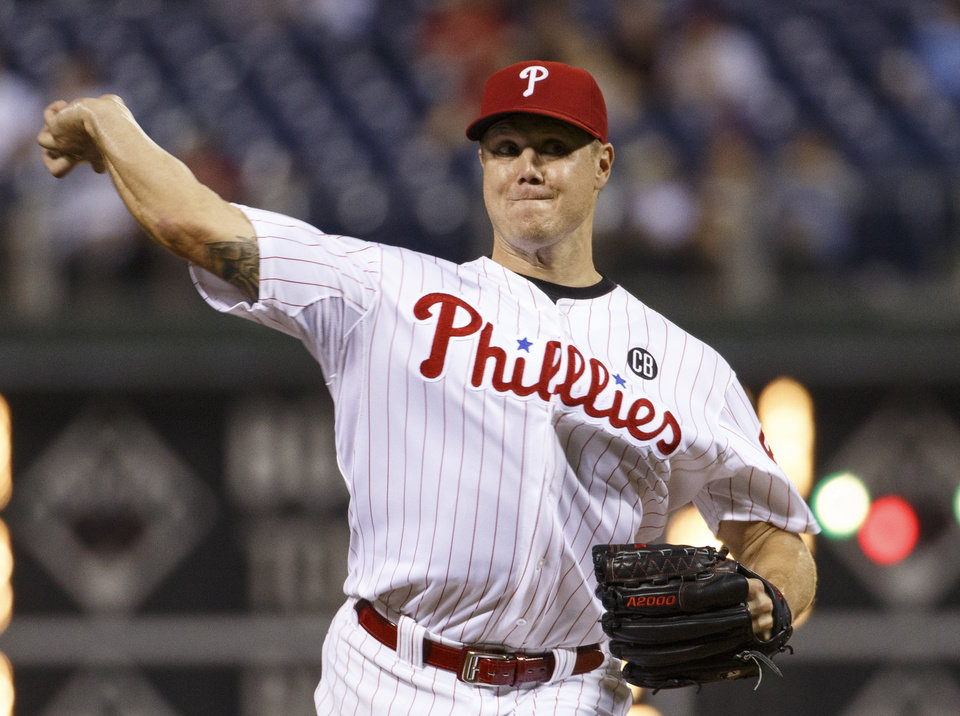 Photo - Philadelphia Phillies relief pitcher Jonathan Papelbon pitches during the ninth inning of a baseball game against the San Francisco Giants, Wednesday, July 23, 2014, in Philadelphia. The Giants won 3-1. (AP Photo/Chris Szagola)