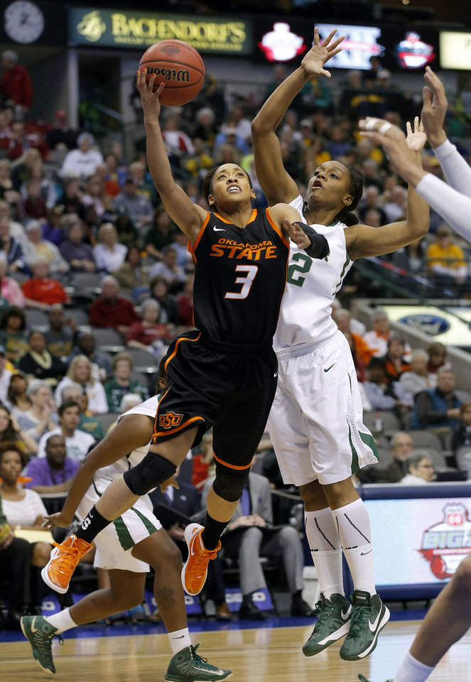 Photo - Oklahoma State's Tiffany Bias (3) goes past Baylor's Brooklyn Pope (32) during the Big 12 tournament women's college basketball game between Oklahoma State University and Baylor at American Airlines Arena in Dallas, Sunday, March 10, 2012.  Photo by Bryan Terry, The Oklahoman