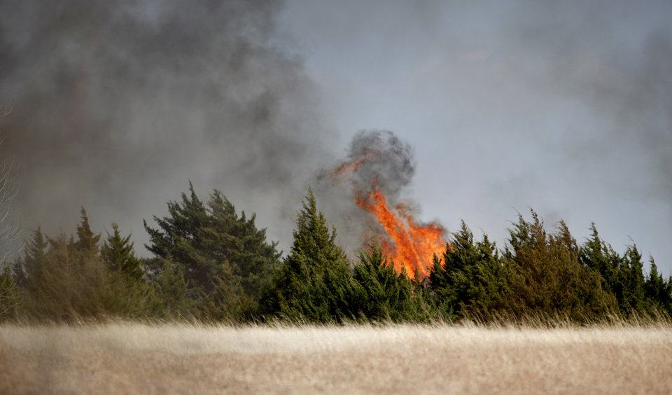 Photo - A  grassfire burns near a neighborhood close to South County Line Road and S.W. 29th, Sunday, March 20, 2011, in Mustang, Okla.. Photo by Sarah Phipps, The Oklahoman