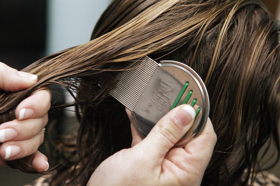 Photo - A technician uses a Nit Free comb to remove lice from a clients hair at Liceology in northeast Oklahoma City, Thursday, March 8, 2012. Photo By David McDaniel/The Oklahomen