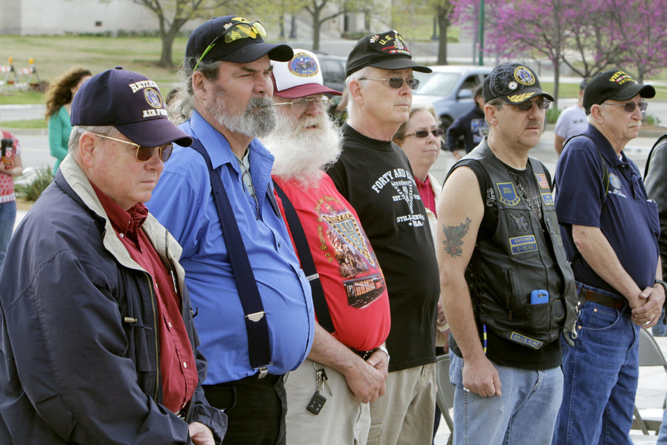 Veterans stand at attention as the names of all the fallen post 9-11 Oklahoma soldiers are read, during a ceremony at the State Capitol in Oklahoma City, OK, Saturday, March 17, 2012,  By Paul Hellstern, The Oklahoman