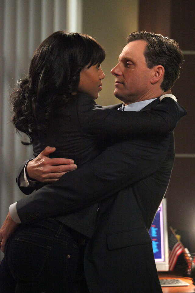 Photo - This image released by ABC shows Kerry Washington as Olivia Pope, left, and Tony Goldwyn as President Fitzgerald Grant in a scene from the ABC series