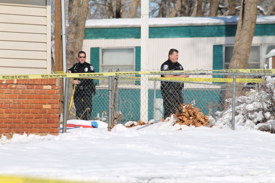 An Elk City woman was shot and killed on Wednesday morning, and her son was taken into police custody after police tased him in the snow. Photo by Derek Manning, Daily Elk Citian. <strong>Derek Manning - Derek Manning, Daily Elk Citian</strong>