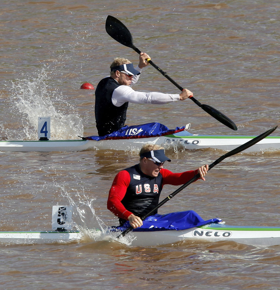 Identical twin brothers Luke Michael, front, and Jake Michael compete in a men's kayak 200m semifinal during the USA Canoe/Kayak U.S. Olympic Team Trials on the Oklahoma River in Oklahoma City, Friday, April 20, 2012. Luke finished first while Jake came in second. Photo by Nate Billings, The Oklahoman