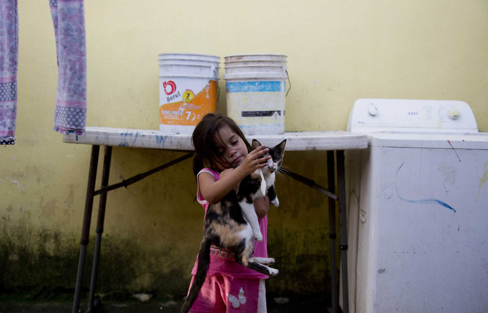 Photo - In this July 10, 2014, photo, a young girl plays with a cat, at the