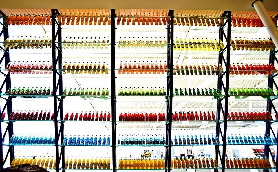 Photo - The brightly colored bottles are stacked on the shelves at Pops in Arcadia, Okla. [Chris Landsberger/The Oklahoman Archives]