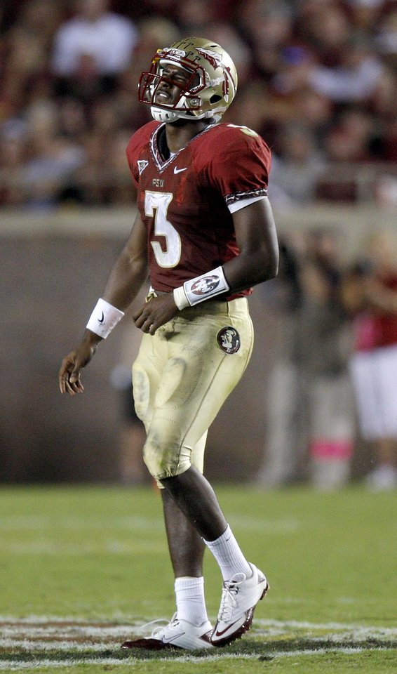 Florida's EJ Manuel (3) reacts after an injury during a college football game between the University of Oklahoma (OU) and Florida State (FSU) at Doak Campbell Stadium in Tallahassee, Fla., Saturday, Sept. 17, 2011. Oklahoma won 23-13. Photo by Bryan Terry, The Oklahoman