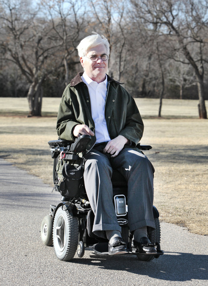 Photo - Jack McMahan in Bluff Creek Park, Tuesday , February 19, 2013. McMahan is behind the idea of making Martin Nature Park handicapped accessible. McMahan was injured in a bicycle accident. Photo By David McDaniel/The Oklahoman
