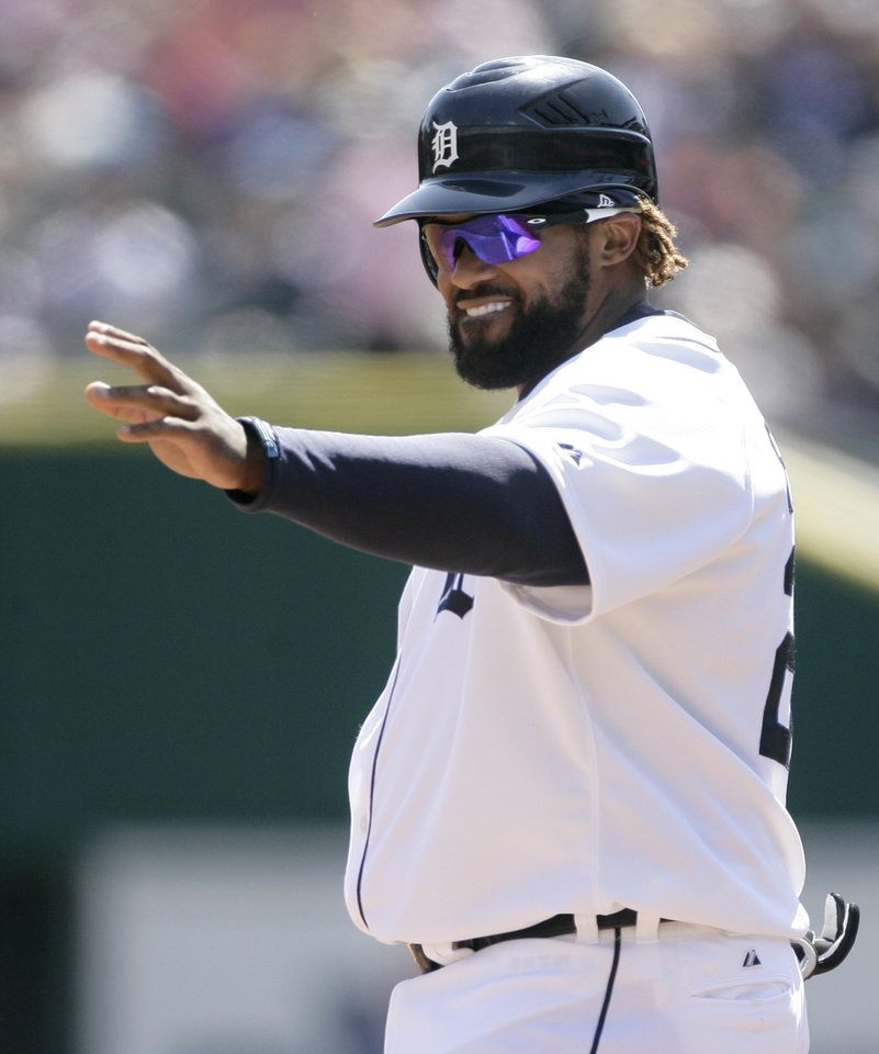 Photo -   Detroit Tigers' Prince Fielder acknowledges the crowd after his 1,000th career hit, in the first inning of a baseball game against the Boston Red Sox on Sunday, April 8, 2012, in Detroit. (AP Photo/Duane Burleson)