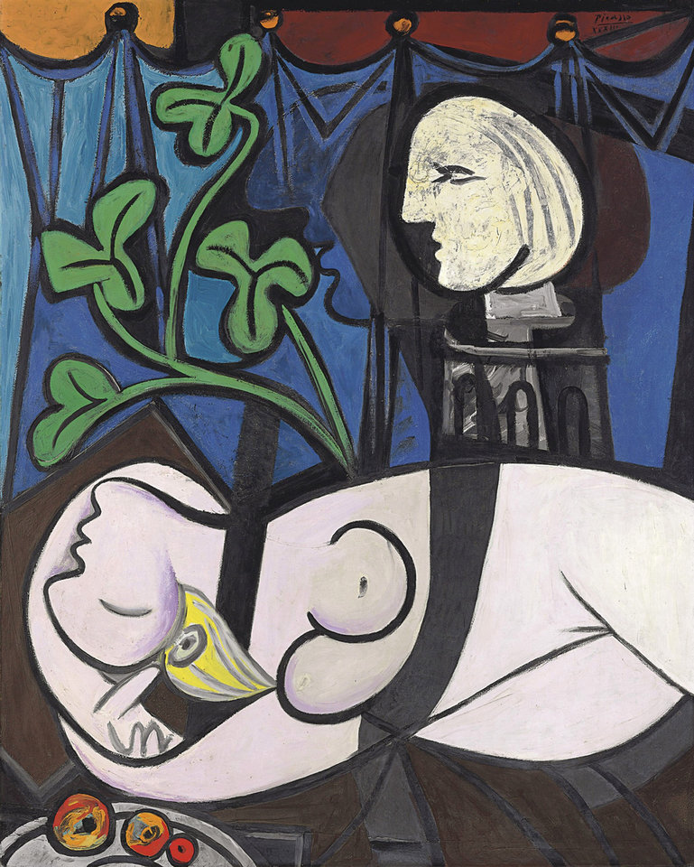 "FILE - This undated file photo provided by Christie's shows ""Nude, Green Leaves, and Bust,"" by Pablo Picasso. The 1932 painting, which sold in May 2010 for $106,482,500, tops the list of eight works that have sold for $80 million or more at auction.When Edvard Munch�s ""The Scream,"" is auctioned at Sotheby's in New York Wednesday May 2, 2012, it could sell for $80 million or more. (AP Photo/ Christie's, File)"