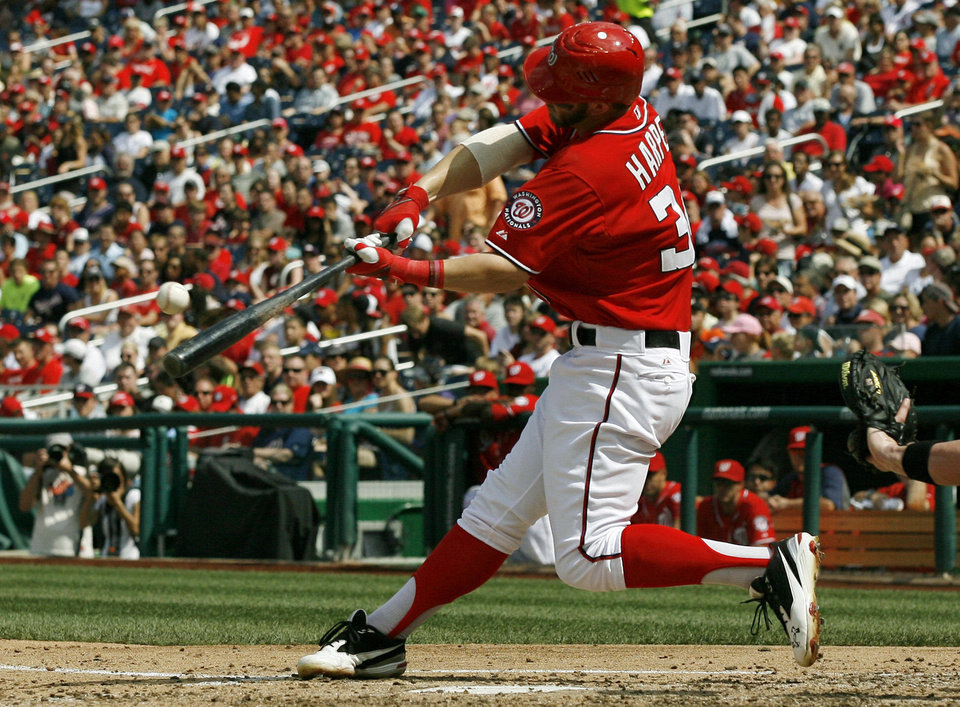 Washington Nationals' Bryce Harper hits a solo home run during the fifth inning of a baseball game against the Miami Marlins at Nationals Park Saturday, Sept. 8, 2012, in Washington. (AP Photo/Alex Brandon) <strong>Alex Brandon</strong>