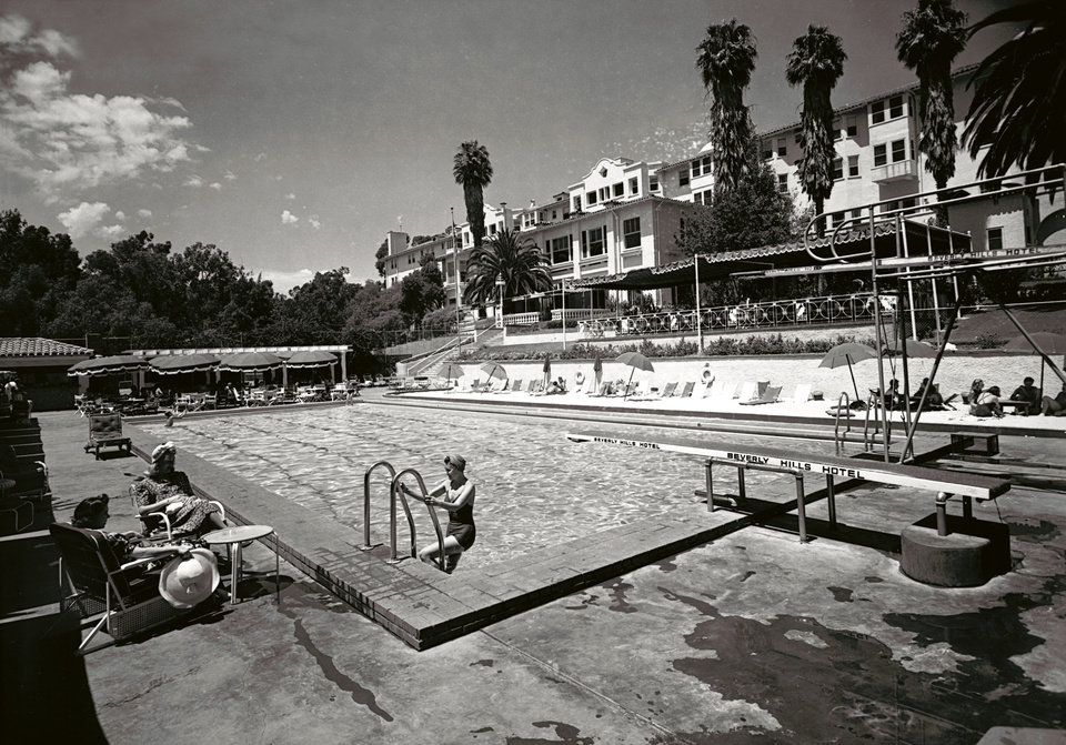 Photo -   In this 1938 image released by Beverly Hills Collection, pool at The Beverly Hills Hotel is seen upon completion. The Beverly Hills Hotel is celebrating its 100th Anniversary in May. (AP Photo/Beverly Hills Collection)