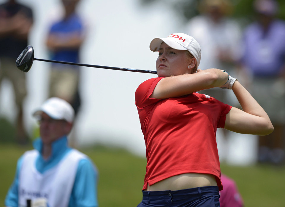 Photo - Charley Hull, of England,  tees off of the third holed in the third round of the Airbus LPGA Classic golf tournament at Magnolia Grove on Saturday, May 24, 2014, in Mobile, Ala. (AP Photo/G.M. Andrews)
