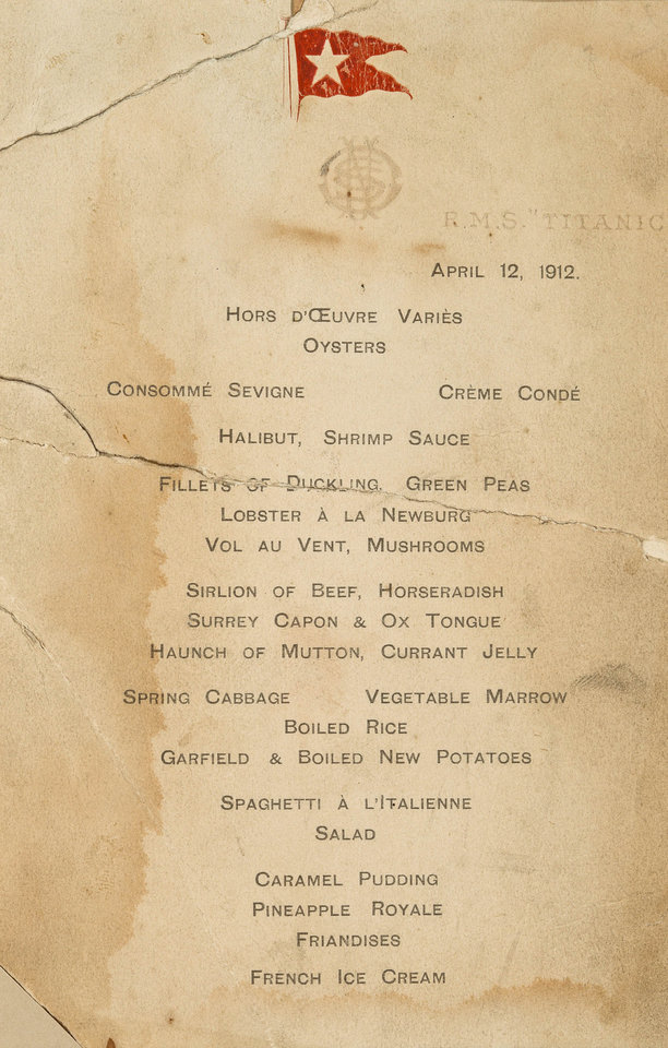 "In this Feb. 23, 2012 photo provided by Bonhams Auction House, an April 12, 1912 menu from the R.M.S. Titanic is shown. The menu will be among the Titanic related artifacts being put up on the block by Bonhams during their ""R.M.S. Titanic: 100 Years of Fact and Fiction"" auction in New York on Sunday, April 15, 2012. (AP Photo/Bonhams Auction House)"