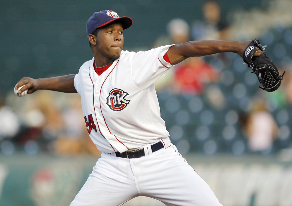 Photo - Oklahoma City RedHawks pitcher Neftafi Feliz made his bullpen debut Thursday night. Feliz, who had made 13 starts for the RedHawks, helped the team beat Round Rock 3-1 at The Brick.