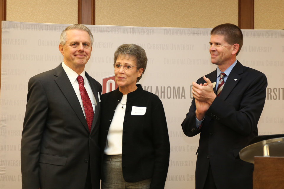 Benton and Paula Baugh are seen with Oklahoma Christian University President John deSteiguer.  PHOTO PROVIDED BY OKLAHOMA CHRISTIAN UNIVERISTY