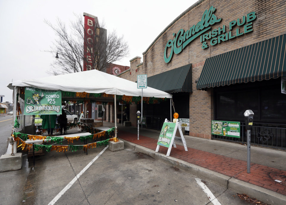 Photo - The exterior of O'Connell's Irish Pub and Grille on St. Patricks Day in Norman, Okla., Tuesday, March 17, 2020. [Nate Billings/The Oklahoman]