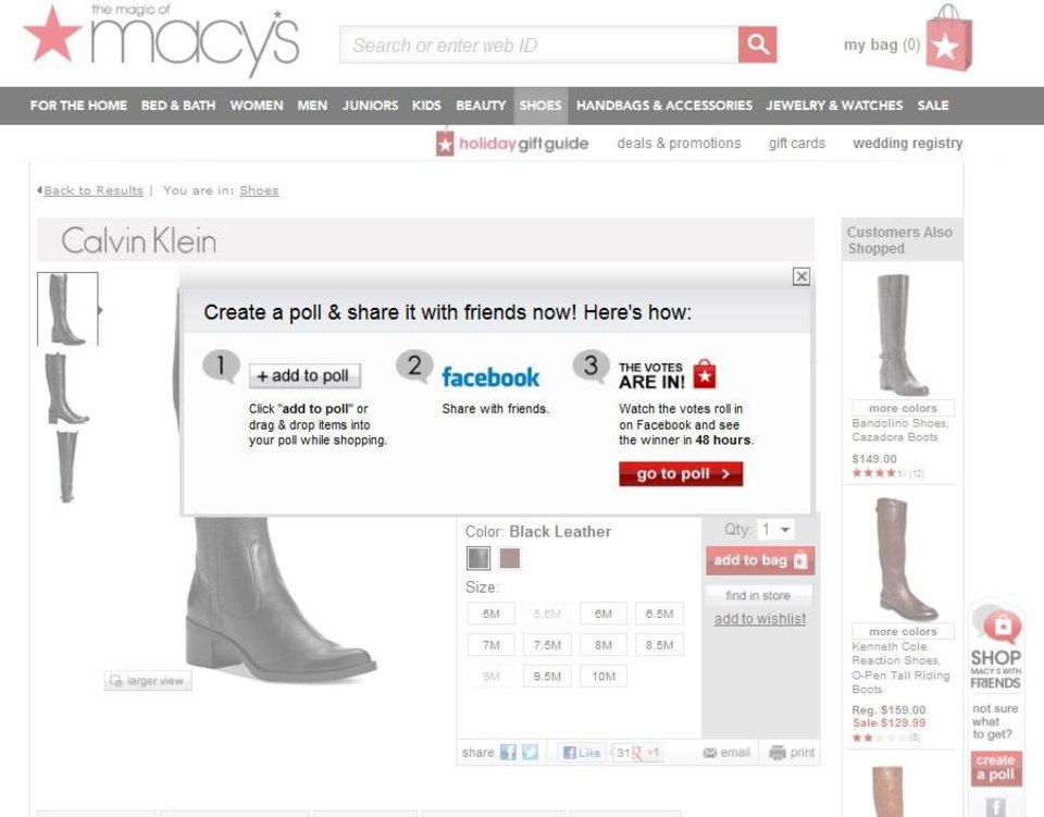 This undated screenshot of Macy\'s online shopping website made available to the Associated Press shows how social media is integrated into their online store. Whether shoppers know it or not, their actions online help dictate what\'s in stores during this holiday season. (AP Photo/Macy\'s)