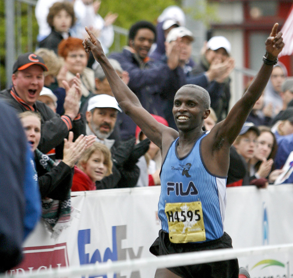 Bernard Manirakiza wins the half marathon during the Oklahoma City Memorial Marathon, Sunday, April 27, 2008. BY BRYAN TERRY, THE OKLAHOMAN
