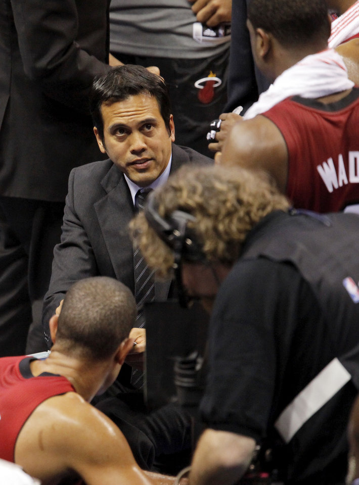 Miami coach Erik Spoelstra talks to his team during a timeout in Game 1 of the NBA Finals between the Oklahoma City Thunder and the Miami Heat at Chesapeake Energy Arena in Oklahoma City, Tuesday, June 12, 2012. Oklahoma City won, 105-94. Photo by Nate Billings, The Oklahoman