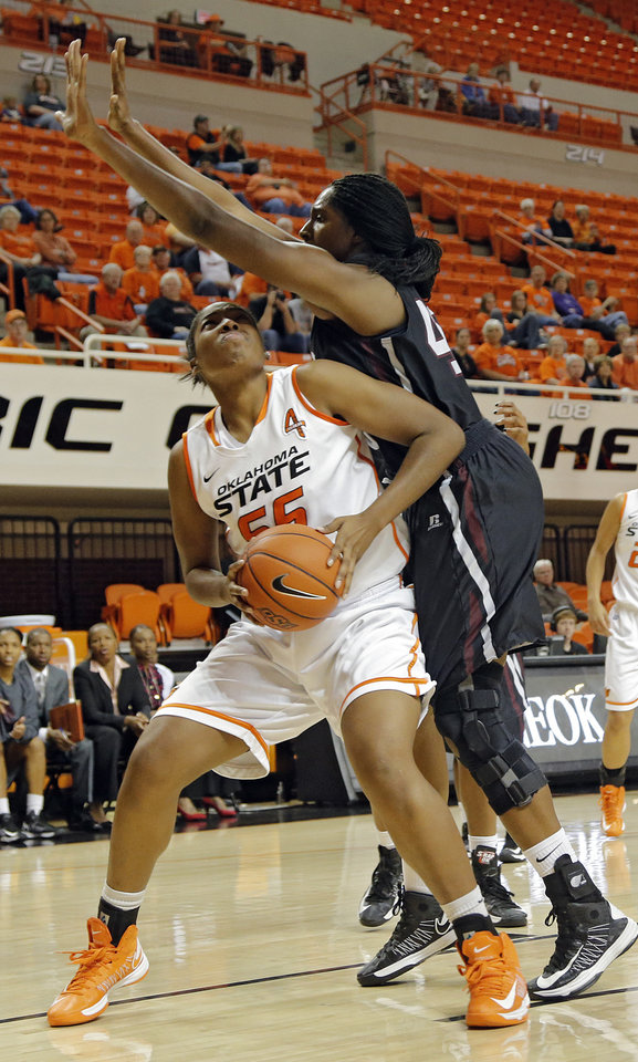 Oklahoma State 's LaShawn Jones (55) tries to get a shot off past Texas Southern 's Crystal Anyiam (40) during the women's college basketball game between Oklahoma State University and Texas Southern University on Saturday, Dec. 1, 2012, in Stillwater, Okla.   Photo by Chris Landsberger, The Oklahoman