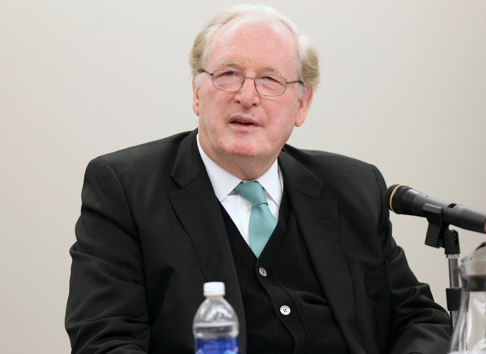 Photo - Sen. Jay Rockefeller speaks during a roundtable discussion on prescription drug abuse and trafficking on Thursday, Feb. 21, 2013, at Marshall University's Forensic Science Center in Huntington, W.Va. (AP Photo/The Herald-Dispatch, Sholten Singer)