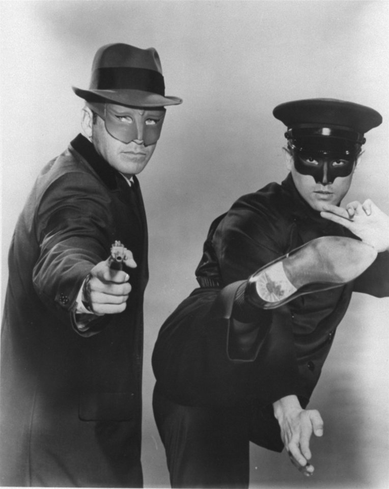 "Van Williams portrays ""The Green Hornet,""  and the young Bruce Lee as ""Kato,"" his Oriental sidekick houseboy-chauffer in the TV action adventure series of the late 1960s. (AP Photo/HO)"