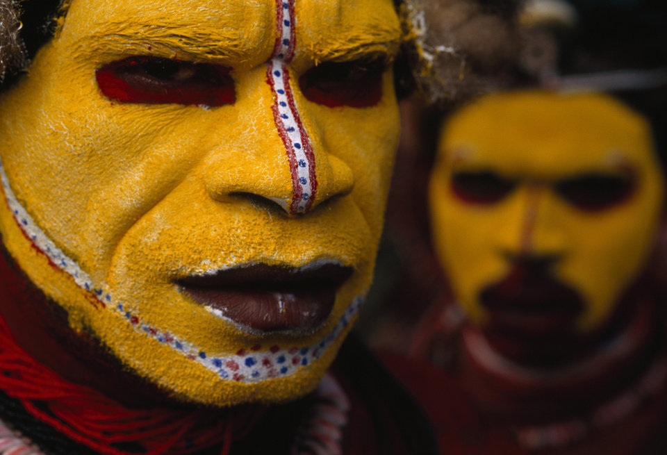 Photo -   In this 1998 photo provided by National Geographic via Christie's Auction House, Huli Tribesman, in Papua New Guinea are shown. The photo is among a small selection of the National Geographic Society's most indelible photographs that will be sold at Christie's next month at an auction expected to bring about $3 million. (AP Photo/National Geographic, Jodi Cobb)