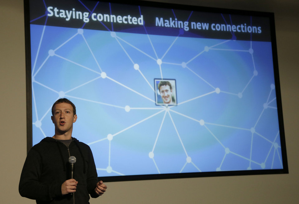 Facebook CEO Mark Zuckerberg speaks about Facebook Graph Search at a Facebook headquarters in Menlo Park, Calif., Tuesday, Jan. 15, 2013.  The new service lets users search their social connections for information about their friends� interests, and for photos and places.  (AP Photo/Jeff Chiu)