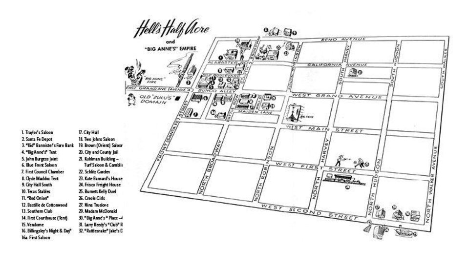 Photo - The late author Albert McRill provided readers with a map of the city's early day brothels, gambling halls and bars.  Provided
