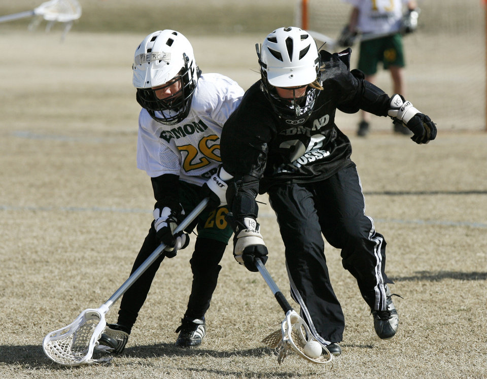 "The ""Swarm's"" Pierce Low (left) and the ""Wraith's"" Sam Heaton battle for control of the ball as the Edmond Lacrosse League plays at Cheyenne Middle School in Edmond, OK, Saturday, March 8, 2008. BY PAUL HELLSTERN, THE OKLAHOMAN"