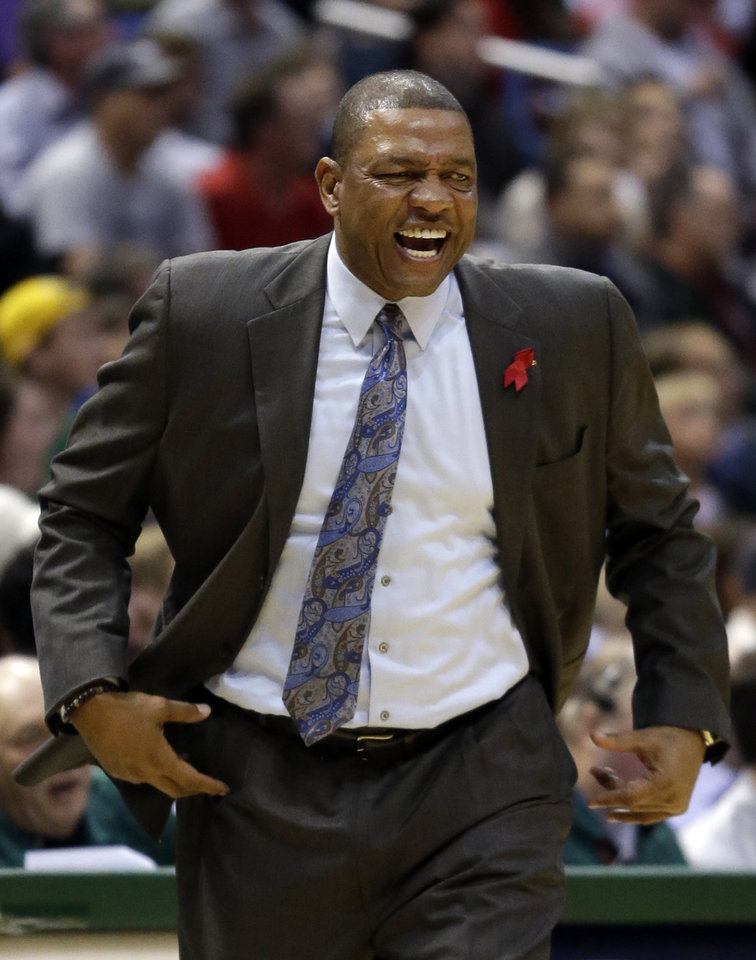 Boston Celtics head coach Doc Rivers reacts to a call during the first half of an NBA basketball game against the Milwaukee Bucks, Saturday, Dec. 1, 2012, in Milwaukee. (AP Photo/Morry Gash)