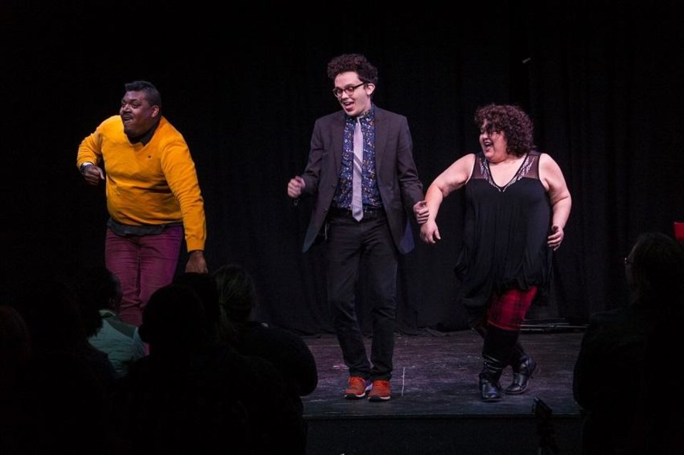 Photo - From left, Kendon Lacy, Kyle Gossett and Cristela Carrizales perform with OKC Improv. [Photo provided]