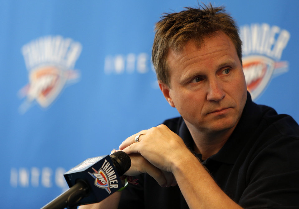 OKLAHOMA CITY THUNDER NBA BASKETBALL: Scott Brooks, Oklahoma City Thunder head coach, speaks during a press conference announcing his new $16 million contract at the Integris Health Thunder Development Center in Oklahoma City, Tuesday, July 3, 2012.  Photo by Garett Fisbeck, The Oklahoman