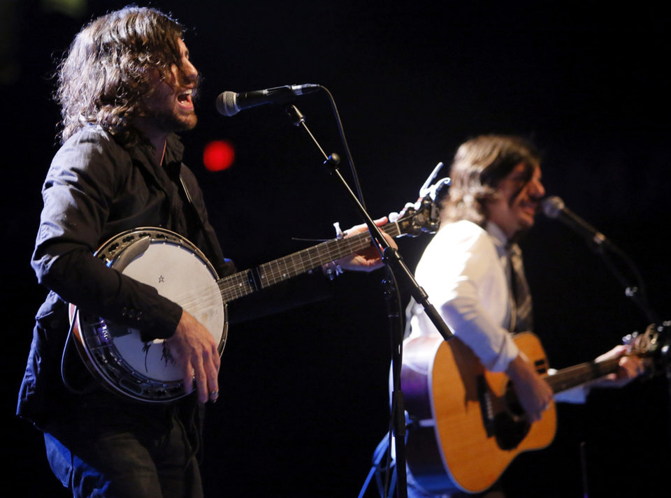 Scott Avett, left, and Seth Avett perform during a concert by the Avett Brothers at Chesapeake Energy Arena in Oklahoma City, Friday, July 27, 2012. Photo by Nate Billings, The Oklahoman