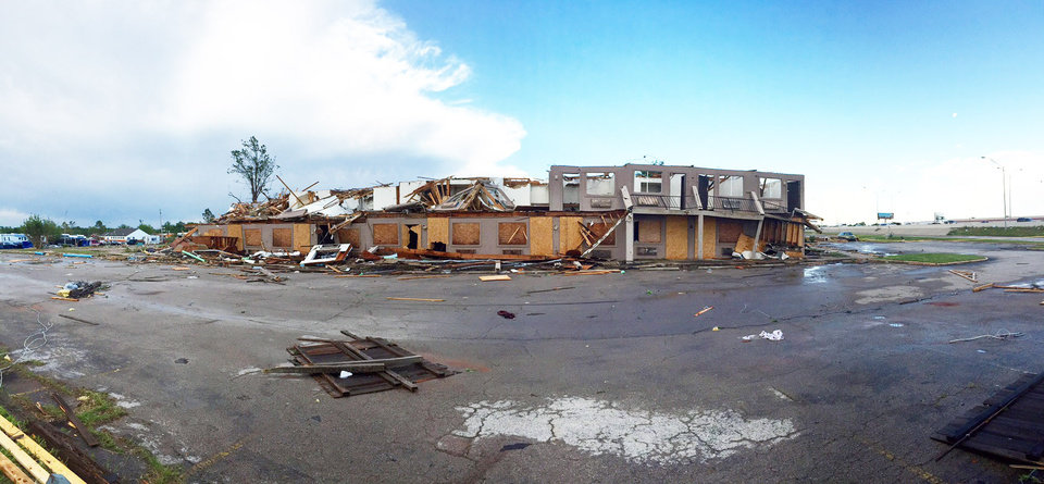 Photo - Hotel damaged at I-35 and SE 44th in Oklahoma City. Photo by Steve Gooch, The Oklahoman