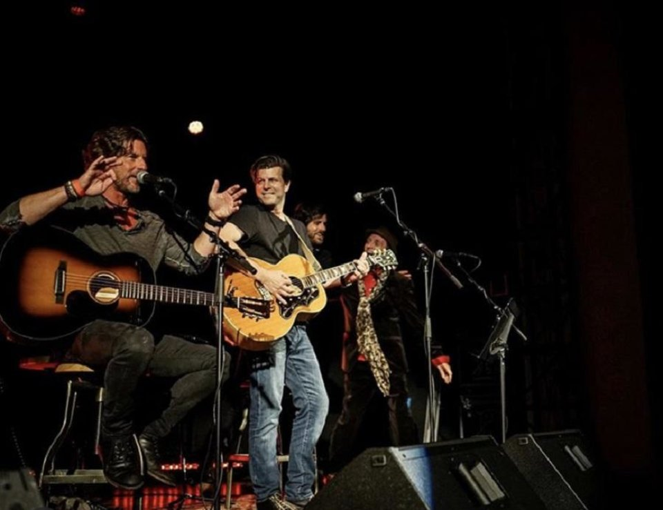 Photo - From left, Brett James, Zac Maloy, Graham Colton and Tyson Meade share the stage during the 2019 Oklahoma Songwriters Festival. [Photo provided]