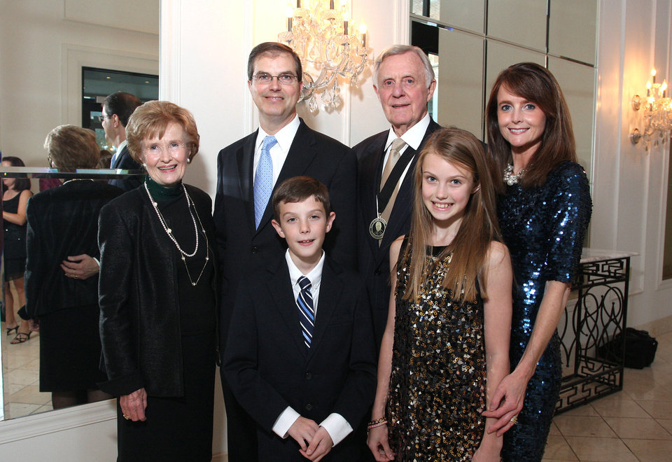 Barbara Thompson, Tim and Jack, age 10, DeGiusti, Ralph Thompson, Ellen, age 12, and Elaine DeGiusti. PHOTO BY DAVID FAYTINGER, FOR THE OKLAHOMAN <strong></strong>