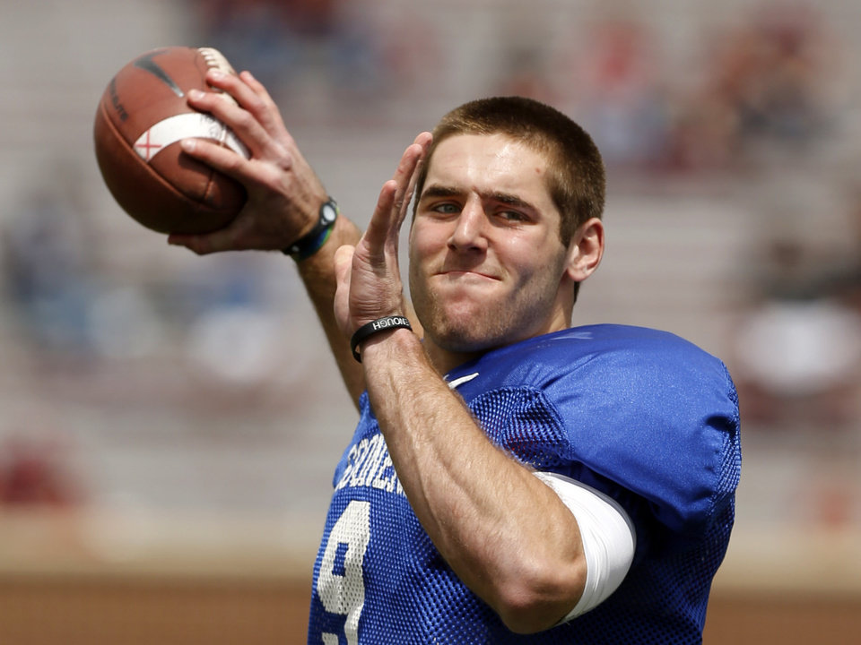 Photo - OU / UNIVERSITY OF OKLAHOMA / COLLEGE FOOTBALL: Trevor Knight (9) warms up before the annual Spring Football Game at Gaylord Family-Oklahoma Memorial Stadium in Norman, Okla., on Saturday, April 13, 2013. Photo by Steve Sisney, The Oklahoman