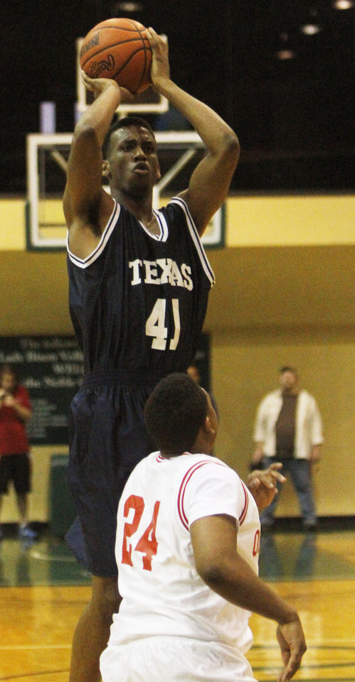 Texas all star forward Leyton Hammonds shoots a jump shot in the Faith 7 Bowl All Star game in Shawnee where the Oklahoma team won 101 - 95. Photo by KT KING, The Oklahoman